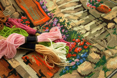 Colored thread on an embroidered tapestry Royalty Free Stock Photo