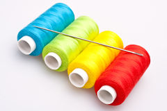 Colored Thread For Sewing With Needle Royalty Free Stock Image