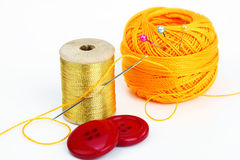 Colored thread, needles Stock Image