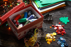 Colored thread in the new year or Christmas box Royalty Free Stock Photography