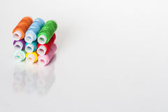 Colored thread. Set of colorful threads on white background Royalty Free Stock Photography