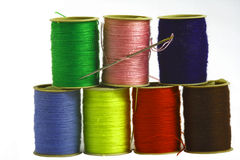 Colored threads. Isoleted on the white background Stock Photography