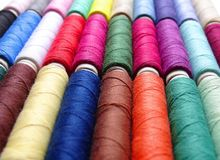 Colored threads. Closeup of colored thread spools Stock Images