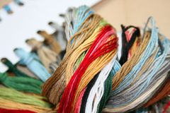 Colored threads for embroidery Royalty Free Stock Images