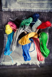 Colored threads in the mat tailor Royalty Free Stock Photo