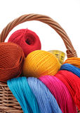 Colored threads for needlework in the basket Royalty Free Stock Image