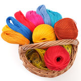 Colored threads for needlework in the basket Royalty Free Stock Images