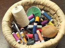 Colored threads and sewing accessories Royalty Free Stock Images
