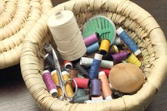 Colored threads and sewing accessories Stock Photos