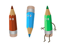 Colored three crazy funny cartoon pencils - red crayon, green and blue. isolated on white  working clipping path. A colored three crazy funny cartoon pencils Royalty Free Stock Photography
