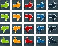 Colored thumbs up and down hands flat icons Royalty Free Stock Photo