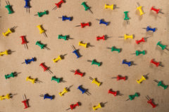 Colored Thumbtacks to remember things to do Stock Photos