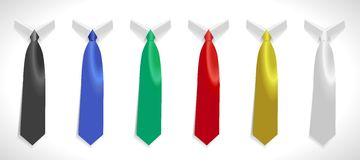 Colored tie, plain silk ties collar template, Easy editable colors Stock Photography