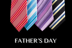 Colored ties with father's day text Stock Photos