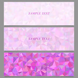 Colored tiled triangle mosaic banner design set Stock Photography