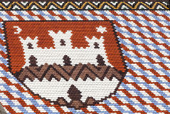 Colored tiles with emblem of Zagreb. St Marks Church in Zagreb in Croatia. The Church of San Marco, located at Trg Svetog Marka, is one of the landmark Stock Images