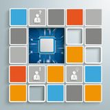 Mosaic Infographic Microchip PiAd. Colored tiles with microchip on the gray background royalty free illustration