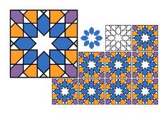 Colored Tiles - Vector. Colored traditional and geometry Portuguese tiles stock illustration