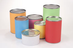 Colored Tin Cans. Close up shot of various tin cans with plain colored labels Royalty Free Stock Images