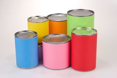 Colored Tin Cans Stock Photo