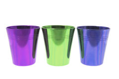 Colored Tin Cups Royalty Free Stock Photos