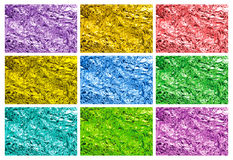 Colored tin foil textures Stock Images