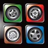 Colored tire icons. Four different colored icons of tires Stock Image