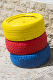 Colored tires. Royalty Free Stock Photos