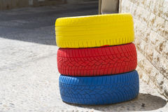 Colored tires. Stock Image
