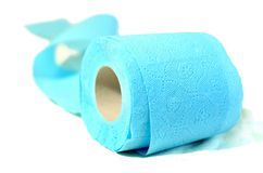 Colored toilet paper cyan. Enjoy the rainbow soft and clean Royalty Free Stock Photo
