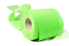 Colored toilet paper spring green. Enjoy the rainbow soft and clean Royalty Free Stock Photo