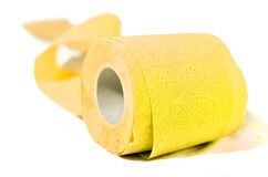 Colored toilet paper yellow. Enjoy the rainbow soft and clean Royalty Free Stock Photos
