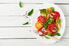 Colored tomato salad with onion and basil pesto. Stock Image