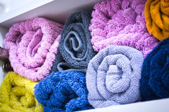 Colored towels in bathroom Royalty Free Stock Photo