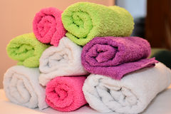 Colored towels closeup Stock Image