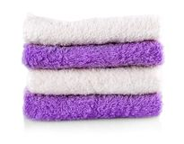 Colored towels isolated on a white background. Stock Images
