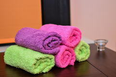 Colored towels stacked Royalty Free Stock Photography