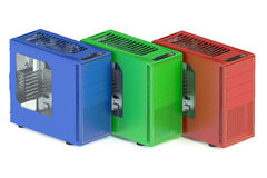 Colored tower pc cases Royalty Free Stock Photography