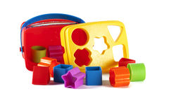 Colored Toy blocks and shapes Royalty Free Stock Photography