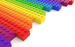 Colored toy bricks on white background stock illustration