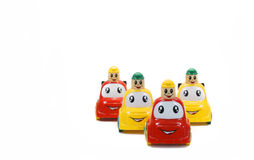 Colored toy cars isolated on wthite. Background Stock Photos