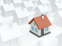 Colored toy home among ordinary white houses (3D render) Royalty Free Stock Photo