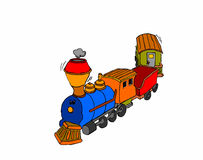 Colored toy train on white background Royalty Free Stock Photo