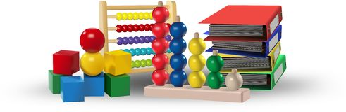 Colored toys, abacus, office folders. Educational concept Royalty Free Stock Images