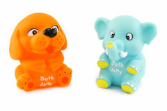 Colored toys with bath jelly inside. Isolated on a white background Stock Image
