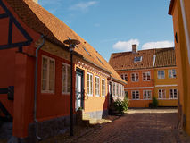 Colored traditional Danish houses stock photo