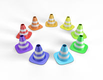Colored traffic cones arranged in a circle and including a clipping path Stock Photo
