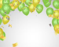 Colored and transparent balloons Abstract background party celeb. Ration green confetti Stock Photography