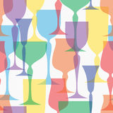 Colored transparent glassware vector illustration Royalty Free Stock Photos