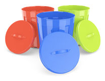 Colored trash bins Stock Photography